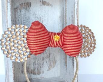 Minnie Mouse Headband, Red and Gold Minnie Headband, Minnie Costume, Minnie Mouse Ear Headband, Minnie Ears , Minnie Birthday Headband