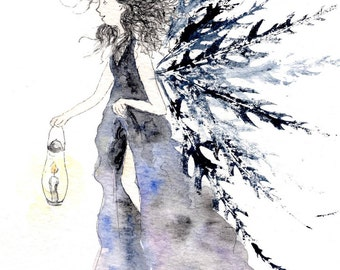 Lara the Lamp fairy - original watercolour fairy painting, with leaf prints