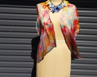 Cute Floral Sheer Kimono Jacket