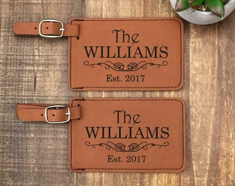 Personalized Luggage Tags - Set of 2 - Custom Luggage Tag - Wedding Gift - Customized - Travel Tags - His and Hers Luggage Tags