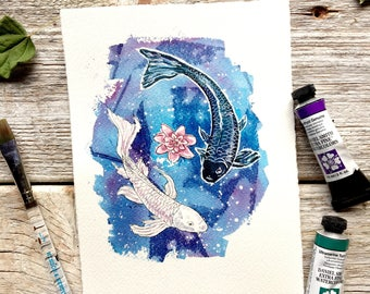 koi fish // ying yang, luck painting, japanese inspired art, feng shui decor, animal lover gift, zen gifts for women