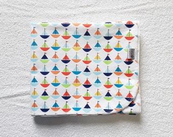 Sailboats Flannel Receiving Blanket; Baby Blanket; Sailboats Blanket; Flannel Blanket