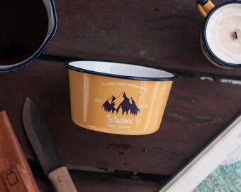 Enamel bowl, soup bowl, camp bowl, adventure bowl, travel bowl, gift for her, yellow enamel bowl, thank you gift, camping bowl, WISDOM bowl