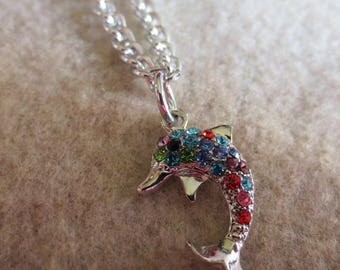 Very cute full of colorful rhinestones dolphn anklet