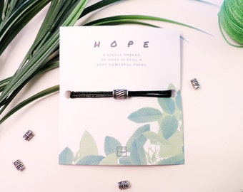 Silver Charm Bracelet Tibetan Style Adjustable Black Cord Bracelet