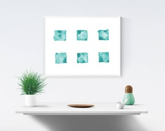 Teal Squares, Printable Instant Digital Download, Watercolour Painting, Wall Art, Blue, Green, Turquoise Art, Abstract Art