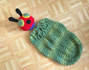 Newborn photo outfit, The Very Hungry Caterpillar, Newborn photo prop, Photography prop, Crochet baby cocoon, Newborn prop, Crochet prop