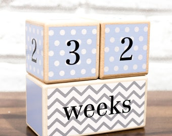 Free Two Day Shipping Included | Baby Age Blocks | Solid Wood | No Stickers Used | Months, Weeks, Years, Grade Milestones | Blue