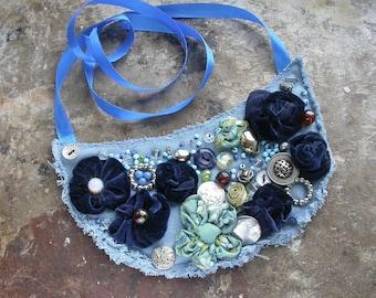 Denim necklace Blue denim jewelry Denim Blue jewelry Jeans jewelry Denim accessories Textile womens necklace