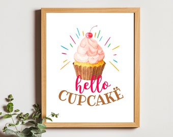 kitchen wall art hello cupcake print kitchen bakery decor downloadable prints kitchen food art printable kitchen quotes nursery decor girl