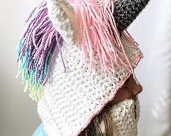 Knitting Pattern For Unicorn Hooded Scarf : Unicorn scarf Etsy