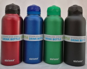 Personalised Drink Bottle. Your name on a Sistema Drink Bottle. Stainless Steel. Water Bottle.