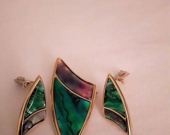 Vintage Butler Abalone and Gold Tones Brooch and Earrings - Clip on Earrings - 1980s