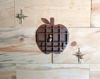 vintage apple shelf | shadow box wall shelf |  novelty wall hanging