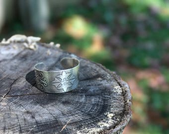 Etched Sterling Silver Cuff Bracelet
