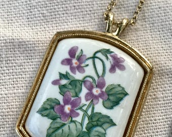 Avon Violets on Porcelain Necklace/ Pendant