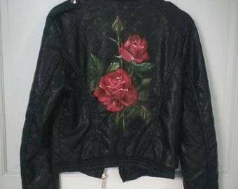Upcycled Hand Painted Roses Faux Leather Jacket