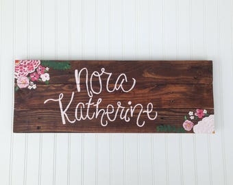 Baby Girl Nursery Name Sign / Reclaimed Wood / Pink Floral Nursery Decor / Personalized Baby Shower Gift / Custom Wood Sign