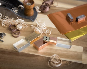 Engraved Crystal USB Drive - Gold or Rose Gold Crystal Glass USB Flash Drive
