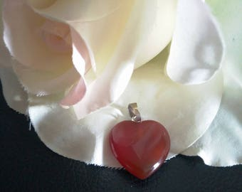 HEART PENDANT, Red agate, inspirational pendant, protective necklace pendant,  red gemstone necklace pendant, red agate jewelry, friendship