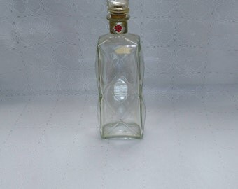 Vintage Four Roses Glass Whiskey Decanter Diamond Cut with Stopper (sb)