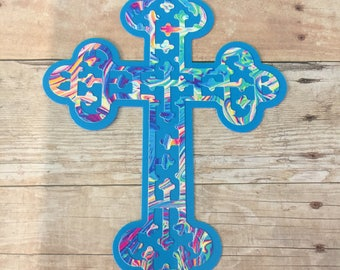 Detailed Celtic cross with cutouts / two colors Vinyl Decal for Yeti, Phone, Laptop & more - You Choose Pattern + Color
