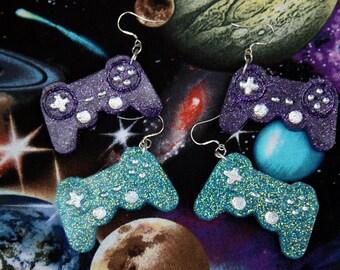 Blue OR Purple Controller Earrings