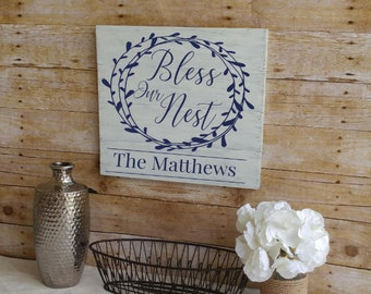 Personalized Sign, Bless Our Nest Sign, Wedding Gift, Last Name Sign, Housewarming Gift, Family Name Sign, Wood Wall Art, Wood Wall Decor