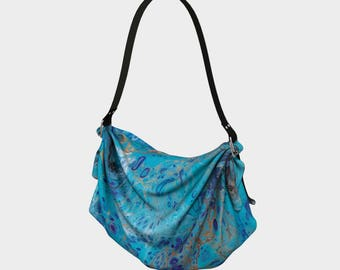 Aquarium in Fluid fluid painted 'Origami' tote bag purse, large tote bag, day tote bag purse, abstract print tote bag