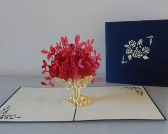 Red Flowers in Urn Pop up Card- Birthday -Wedding -Love- Get Well (sku073)