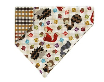 Fall Dog Bandana –Fall Forest Animals and Plaid–Reversible–Slides on Collar