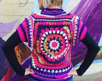 Bohemian Crochet Cardigan / Mandala Cardigan / Designer Crochet Cardigan
