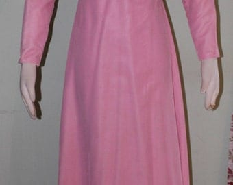 "Size small, Pink velveteen gown, vintage 1960's, 28"" waist"