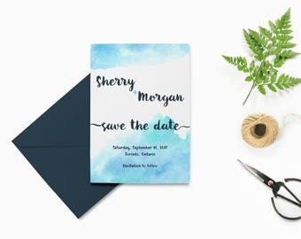 Watercolor Save the Date Printable, Wedding Save the Date Template, Printable Save the Date Cards, Navy Save the Date Printable