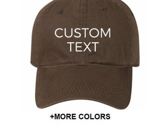 CUSTOM TEXT Garment Washed Cotton Twill Hat | Custom Embroidered Hat, Custom Hat, Personalized Hat, Unstructured Hat, Dad Hat, Custom Cap