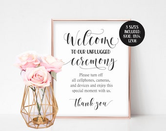 Unplugged Wedding Sign Ceremony Large Welcome