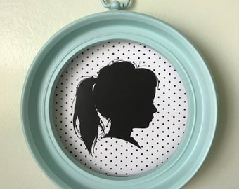 Custom Silhouette Portrait with Polka-Dot Pattern