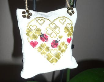 Decoration / hanging door cushion handmade ladybugs and clovers