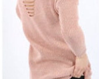 Knitted Jumper with Distressed Slash Back