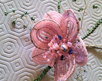 Flower beads pink or orange and green leaves. Gift idea! 50cm / 10cm