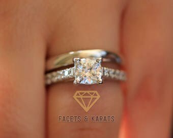120 Carat Cushion Cut Engagement Ring Wedding Band Bridal Set Solid 14k Real White Gold Lab