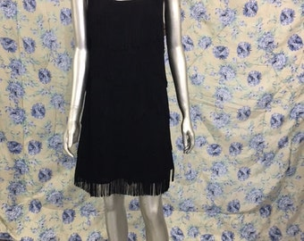Vintage Black Fringe with Cross back Pearls and Beads Dress Sz L