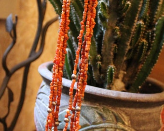 Vintage Coral Multi Stranded Necklace Free U.S. Shipping