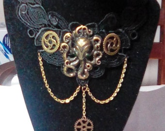 Steampunk octopus and gears choker