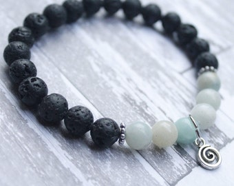 Together In Harmony Amazonite Diffuser Bracelet with Swirl Charm
