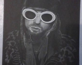 Curt Cobain in white glasses