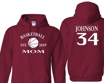 Basketball Mom Customizable Hooded Sweatshirt Custom Hoodie Sweater Family Sports Personalized