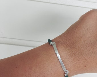 Green & Silver bar bracelet