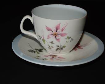 "EB FOLEY, ""Columbine"" Teacup and saucer, Tea Set, Bone China, Made in England, Pink Purple Flowers Vintage, circa 1950's, Vintage, numbered"