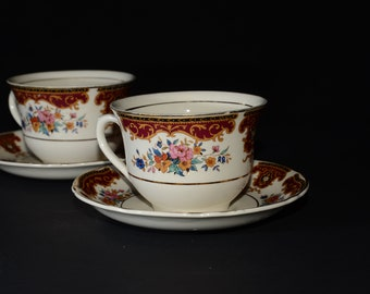 Antique, UNICORN, Thomas Hughes & Son LTD, Staffordshire, Bone China, 2 sets, teacup and saucer, Vintage, burgundy, pink roses, flowers, 4pc